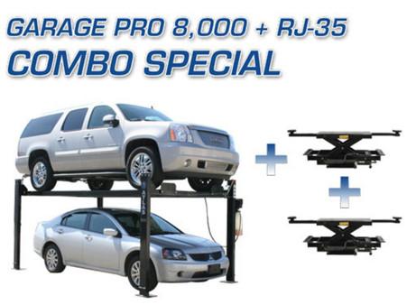 Atlas® Garage Pro 8,000 4 Post Lift & Two Atlas® RJ-35 Sliding Jacks