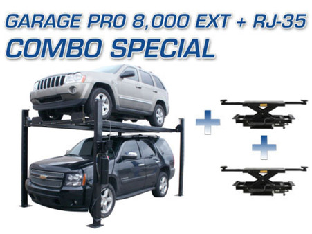 Atlas® Garage Pro 8,000 EXT 4 Post Lift & Two Atlas® RJ-35 Sliding Jacks