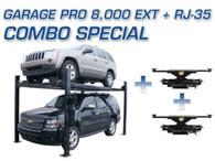 Atlas® Garage Pro 8,000 EXT 4 Post Lift & Two Atlas® RJ-35 Sliding Jacks