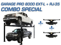 Atlas® Garage Pro 8000 EXT-L 4 Post Lift & Two Atlas® RJ-35 Sliding Jacks