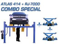 Atlas® 414 14,000 LB. 4 Post Lift & Two Atlas® RJ-7000 Rolling Jacks