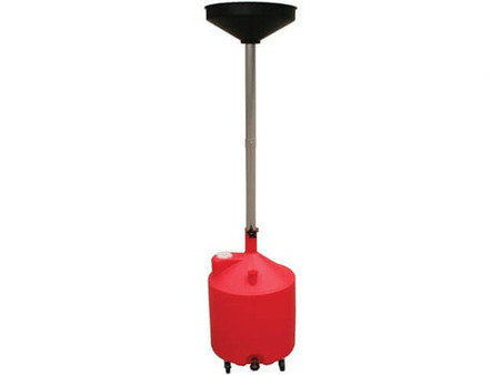 18 Gallon Portable Plastic Oil Drain with Adjustable Funnel Height and Drain Spigot