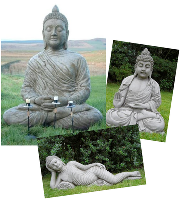 set of 3 large garden buddhas buddha ornaments buddas. Black Bedroom Furniture Sets. Home Design Ideas