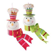 RAZ 8.5in Snowman Head Ornament, 2 Assorted #3416067