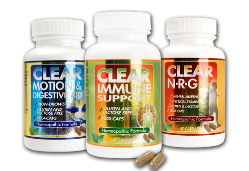 The Clear Weekender Travel Kit: Clear Motion & Digestive Aid, Clear Immune Support, and Clear NRG Plus