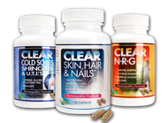 Clear Glamor Kit. Includes one bottle each of  * Clear Skin, Hair & Nails (120 capsules) * Clear Cold Sores, Shingles & UTI's (60 capsules); and * Clear NRG Plus (60 capsules).