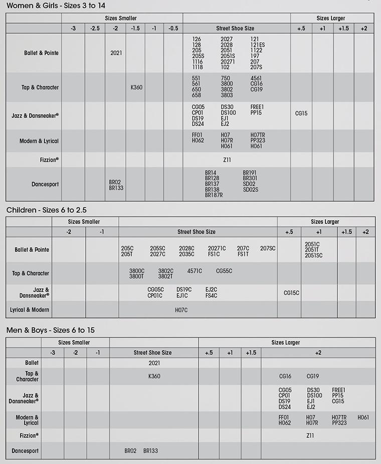 Capezio Ballet Shoe Size Chart