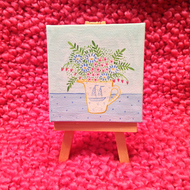 Original Mini Floral Painting - Green