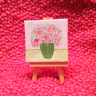 Original Mini Floral Painting - Pink