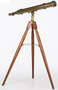 "Large Early 20th Century Brass Telescope on Wood Tripod Stand,  Signed by ""A & R Hahn, Hessen Kassel"".  Provenance The Esteemed Koger Trust Collection. Height 64-1/2 "" x Width of Telescope 47"". Good Condition, Light Wear Appropriate for Age."