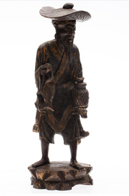 Antique Asian Hand Carved Statue of A Man With Fish And A Lantern