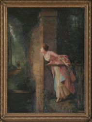 Woman at Balcony Oil on Canvas