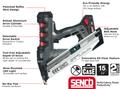 "Senco Fusion F-15 15 Ga. 1-1/4"" - 2-1/2"" 18V Angled Cordless Finish Nailer"