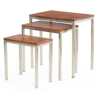 Set of Nickel and Wood Nesting Tables