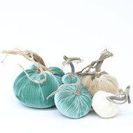 "The NEW LoveFeast Large Set of 5 velvet pumpkins includes a 8""lagoon, 6"" bone, 5"" lagoon, 4"" ivory, and 3"" Lagoon."
