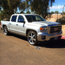 """2015 GMC Sierra Using McGaughys Part # 34170 Set at 3.5/5"""" Drop W/ 295/30R26 Front & 305/30R26 Rear Installed Front"""