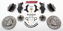 "McGaughys Chevrolet Fullsize Car 1955-1957 13"" Front Cross Drilled Disc Brake Kit & 2"" Drop Spindles; 5x4.75 Bolt Pattern - Part# 63255"
