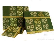 Aso-Oke A079 Olive Green/Creme/Gold