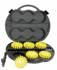 LED Safety Flare. 6 Pack with Rechargeable Case and Charger. Amber