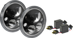 "JEEP JK BLACK CHROME LED HEADLIGHT KIT - 7"" ROUND VORTEX LED HEADLIGHTS W/ HALO & ANTI-FLICKER ADAPTERS. XIL-7RDBKITJK"