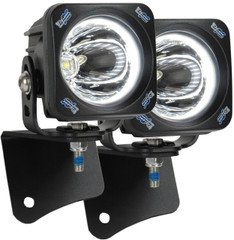 JEEP WRANGLER TJ (1997-2006) A-PILLAR LIGHT MOUNT BRACKET WITH OPTIMUS HALO SQUARE 15 DEGREE LIGHTS AND HARNESS