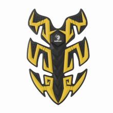 Rubber Sport Bike Gas Oil Tank Pad Protector Fish Bone Sticker, Yellow (Pad-045-M-Yellow)