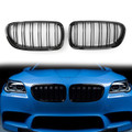 Kidney Grille Dual Double Slat Rib Fins for BMW 5-Series F10 F11 F18 (10-16) Gloss Black