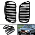 1Pair Front Bumper Grille For BMW E83 X3 LCI Facelift 07-10 Gloss Black