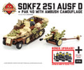 SdKfz 251 ausf D + Pak 40 with Ambush Camo and Bonus WWII German Minifig Squad Pack