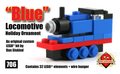 Blue Locomotive Holiday Ornament