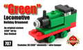 Green Locomotive Holiday Ornament