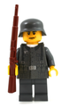 World War II German Soldier - Dark Gray - with Field Jacket and Rifle