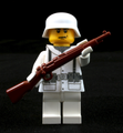 World War II German Winter Soldier with Cloth Jacket and Rifle