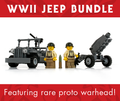 WW2 Jeep and M1A1 Howitzer with US Infantry Minifigs Bundle