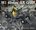 M1 40mm Anti-Aircraft Gun + 3 US Infantrymen Minifigures