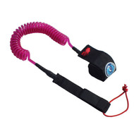 Kai 10 foot 8mm Pro Pink Coiled SUP Ankle Leash