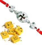 Silver Plated Rakhi With Sweet