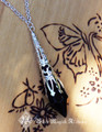 Witching Hour Silver Age ~ Crystal Magickal Black Prism Divination Pendulum Necklace ~ Silver Filigree Pendant 30 inch