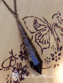 Witching Hour Bronze Age ~ Crystal Magickal Black Prism Divination Pendulum Necklace ~ Bronze Filigree Pendant 30 inch