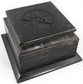 Ancient Black Wooden Pentacle Altar Box