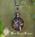 Medieval Amber Resin Pendant Locket Necklace in Bronze or Silver