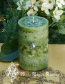 Witches Apple Pillar Candle . Granny Smith Apple, Fertility, Wisdom, Tree of Knowledge, Money Drawing Spell