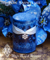 Blue Snowflake . 2x3 Holiday Candle . Snow drenched Forest Woods, Vanilla, Musk, Apple