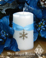 Diamond Snowflake . Holiday Pillar Candle . Warm Winter Sugared Vanilla