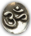 OM Stone . Altar or Pocket Stone . Pewter