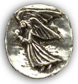 Angel Stone . Altar or Pocket Stone . Pewter