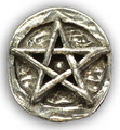 Pentacle Stone Altar or Pocket Stone . Pewter