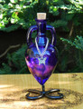 BUTTERFLY Ancient Magic Potion Bottle Vessel with Metal Stand - Sapphire Purple with Silver Butterfly Charm