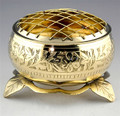 "Etched Screen Brass Incense Resin Censor Burning Vessel Bowl 4.5""x3.5"""