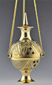 Etched Brass Hanging Incense Censor Burner Vessel 7""